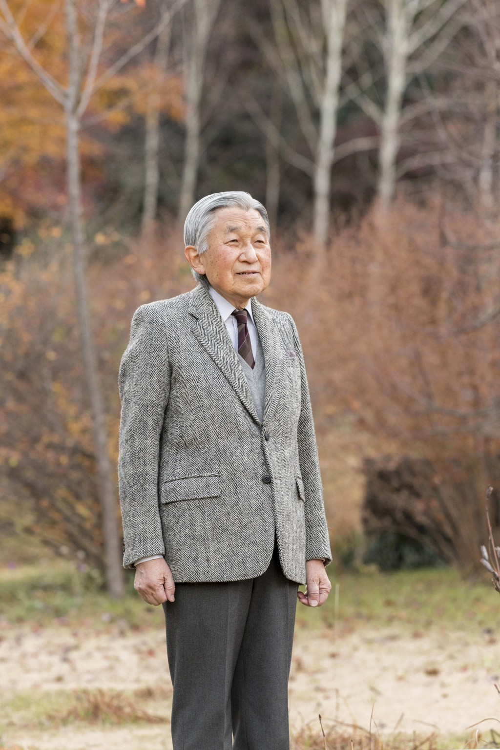In this Dec. 6, 2017, photo provided by the Imperial Household Agency of Japan, Emperor Akihito poses for a photo in the garden of Imperial Residence ...