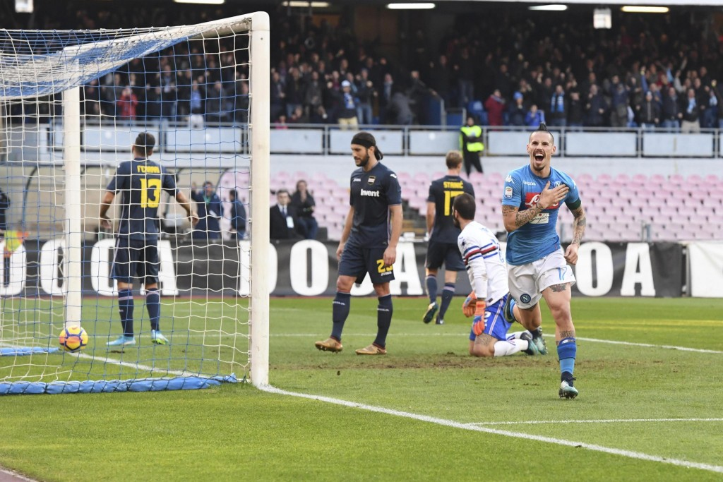 Napoli's Marek Hamsik, right, celebrates after scoring during a Serie A soccer match between Napoli and Sampdoria at the San Paolo stadium in Naples, ...