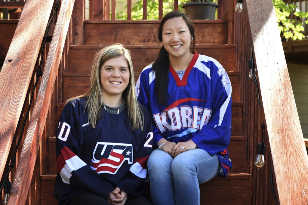 In this May 11, 2017 photo, sisters Hannah, left, and Marissa Brandt, pose at their family's home in Vadnais Heights. Minn. The pair will be playing i...