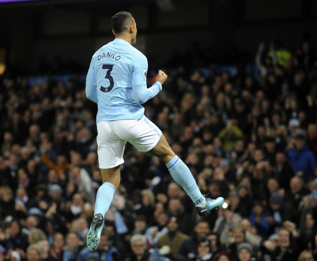 Manchester City's Danilo celebrates scoring his side's fourth goal during the English Premier League soccer match between Manchester City and Bournemo...
