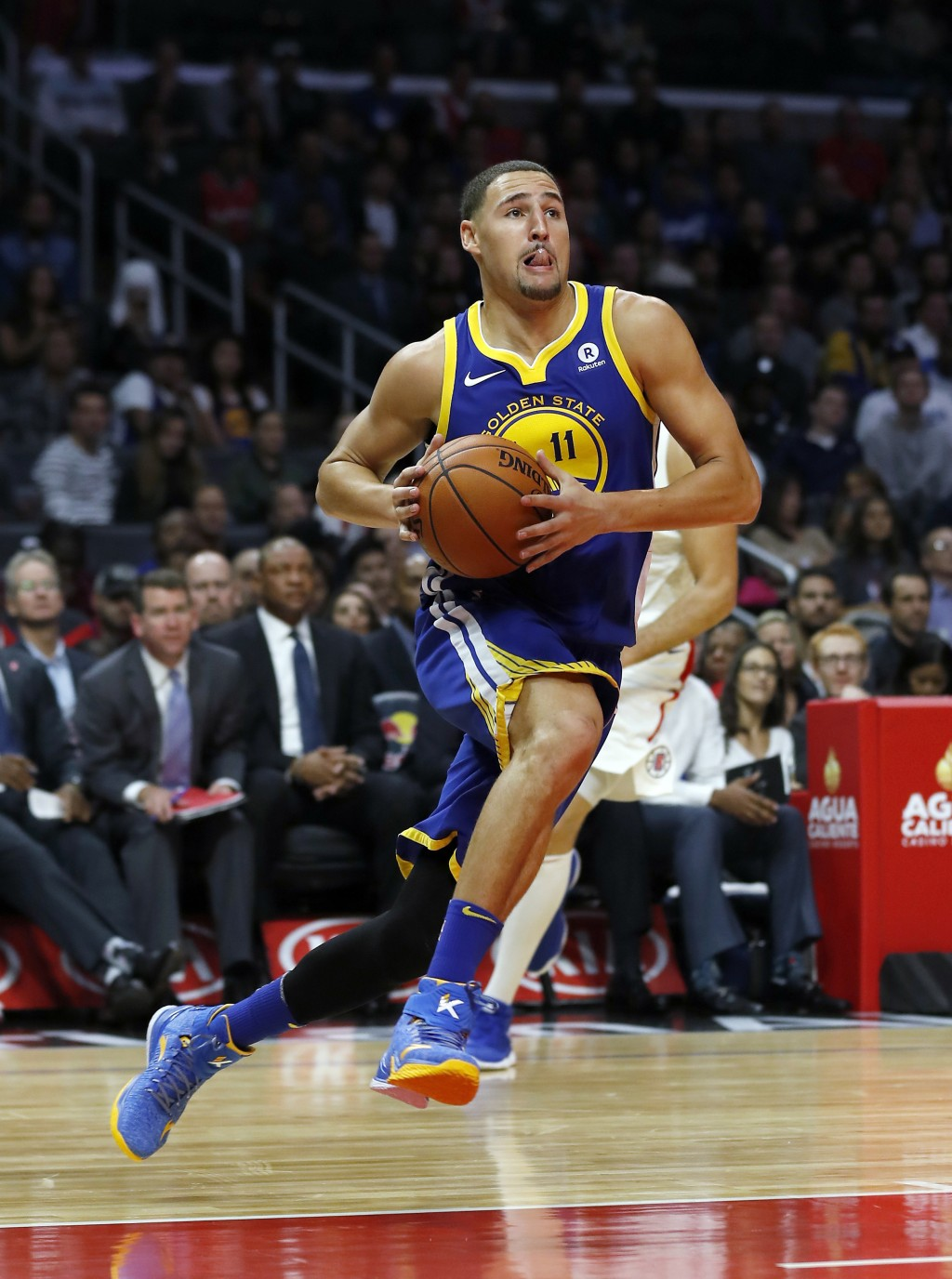 FILE - In this Oct. 30, 2017, file photo, Golden State Warriors guard Klay Thompson goes to the basket during the second half of an NBA basketball gam...