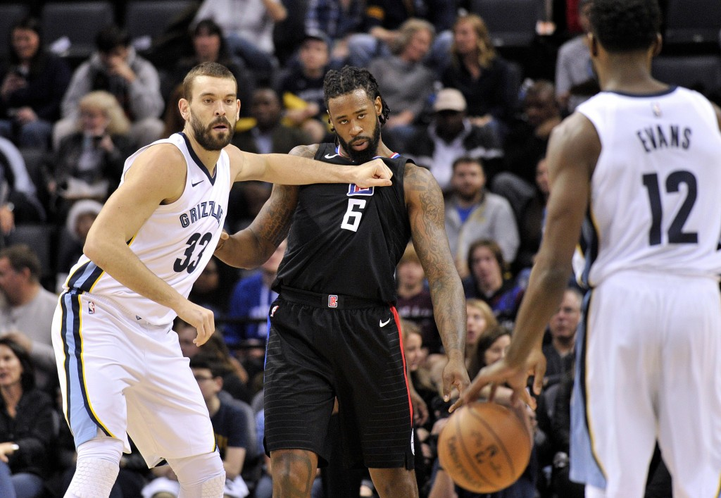 Memphis Grizzlies center Marc Gasol (33) moves for position against Los Angeles Clippers center DeAndre Jordan (6) as Grizzlies guard Tyreke Evans (12...