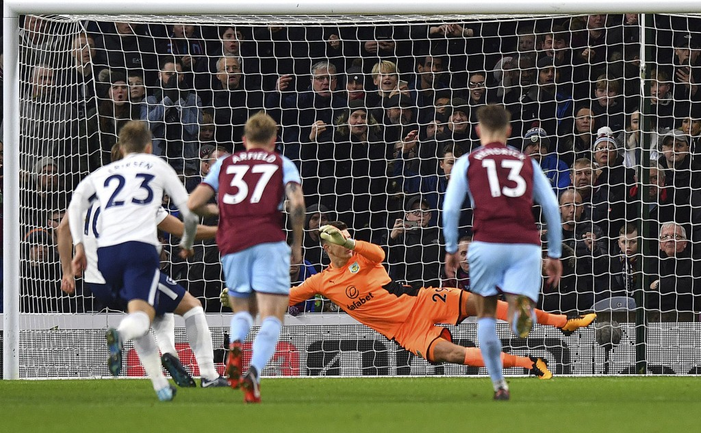 Tottenham Hotspur's Harry Kane, not pictured, scores his side's first goal of the game during the English Premier League soccer match at Turf Moor, Bu...