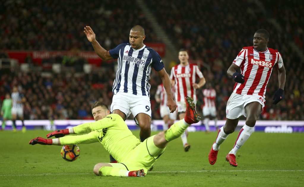West Bromwich Albion's Hal Robson-Kanu has an attempt on goal saved by Stoke City goalkeeper Jack Butland during the English Premier League soccer mat...