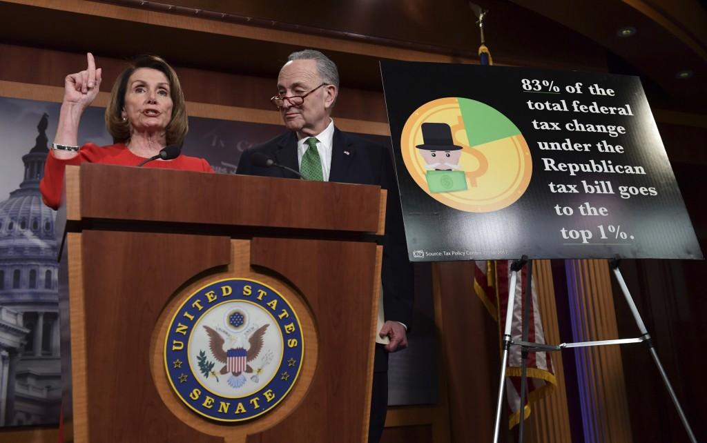 FILE - In this Dec. 20, 2017, file photo, House Minority Leader Nancy Pelosi of Calif., left, standing with Senate Minority Leader Sen. Chuck Schumer ...