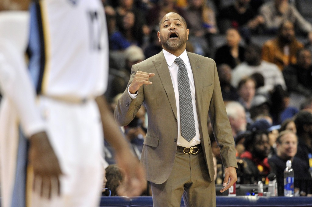 Memphis Grizzlies head coach J.B. Bickerstaff calls to players in the first half of an NBA basketball game against the Los Angeles Clippers, Saturday,...