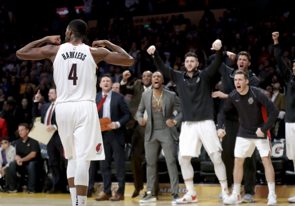 Portland Trail Blazers forward Maurice Harkless celebrates after scoring against the Los Angeles Lakers during the second half of an NBA basketball ga...