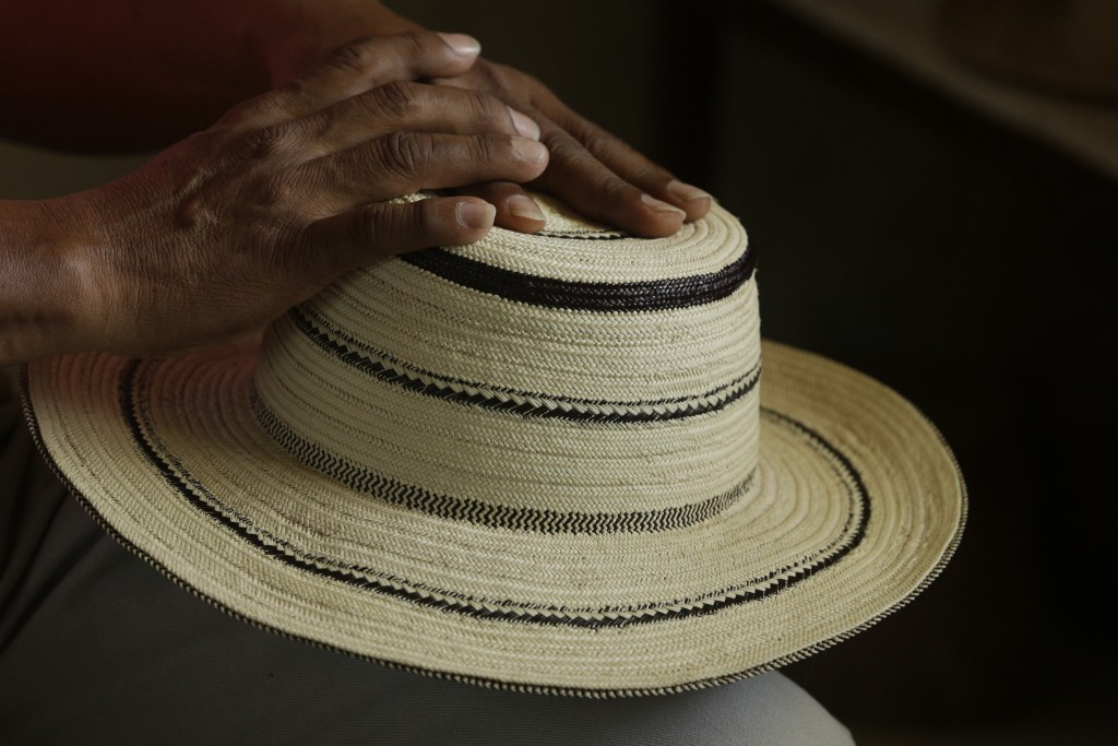 In this Dec. 16, 2017 photo, an artisan holds a traditional Panamanian pintao hat, in La Pintada, Panama. In La Pintada, authorities estimate that 4,0...