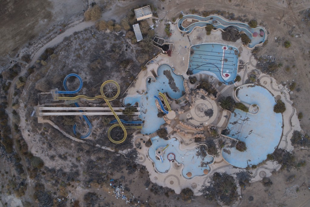 In this Nov. 28, 2017 photo, an aerial view of the abandoned Kalya water park on the Dead Sea shore. Israel is heading into its fifth consecutive year...