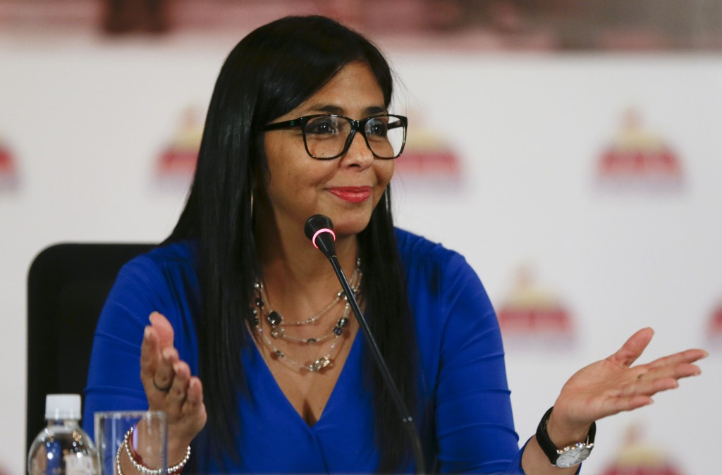 FILE - In this Aug. 28, 2017, file photo, Delcy Rodriguez, president of the Constitutional Assembly, gives a news conference in Caracas, Venezuela. A ...