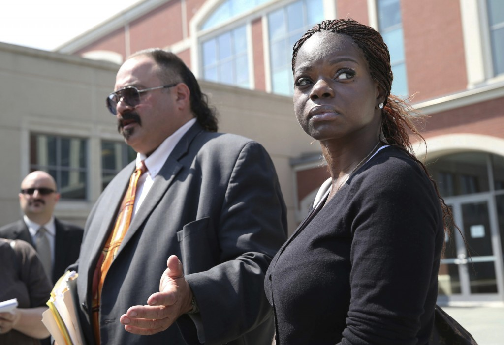 FILE - In this Aug. 5 2014, file photo, attorney Evan Nappen, left, and his client Shaneen Allen, talk to media outside Atlantic County Criminal Court...