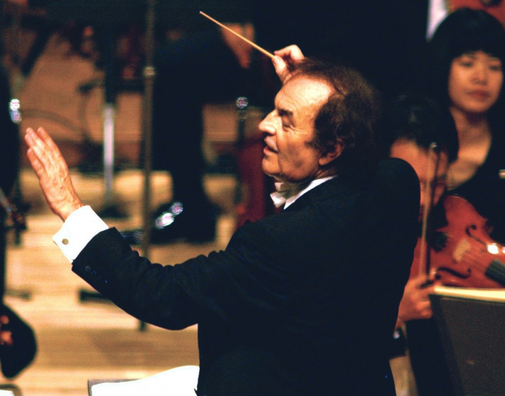 FILE - In this June 19, 2003, file photo, conductor Charles Dutoit performs with NHK Symphony Orchestra in Tokyo, Japan. A Canadian orchestra is launc...