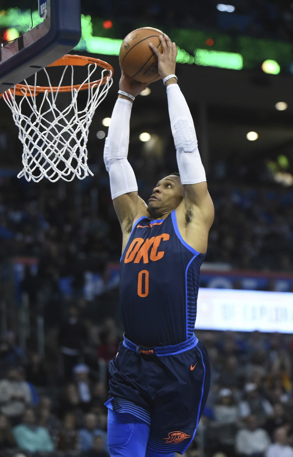 Oklahoma City Thunder's Russell Westbrook dunks the ball in the third quarter of an NBA basketball game in Oklahoma City, Monday, Dec. 25, 2017. Oklah...