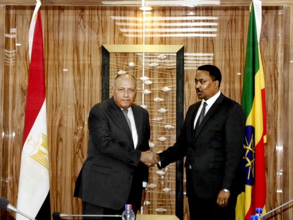 In this photo provided by Egypt's state news agency MENA, Egyptian Foreign Minister Sameh Shoukry, shakes hands with his counterpart Workneh Gebeyehu,...