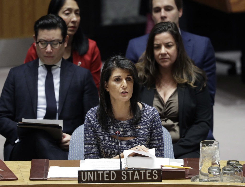 FILE - In this Dec. 22, 2017, file photo, U.S. Ambassador Nikki Haley speaks in favor of a resolution at United Nations headquarters. The U.S. governm...