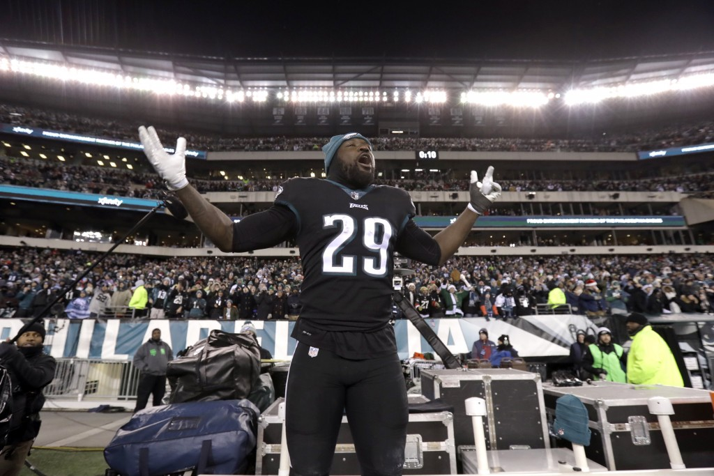 Philadelphia Eagles' LeGarrette Blount cheers during the second half of an NFL football game against the Oakland Raiders, Monday, Dec. 25, 2017, in Ph...