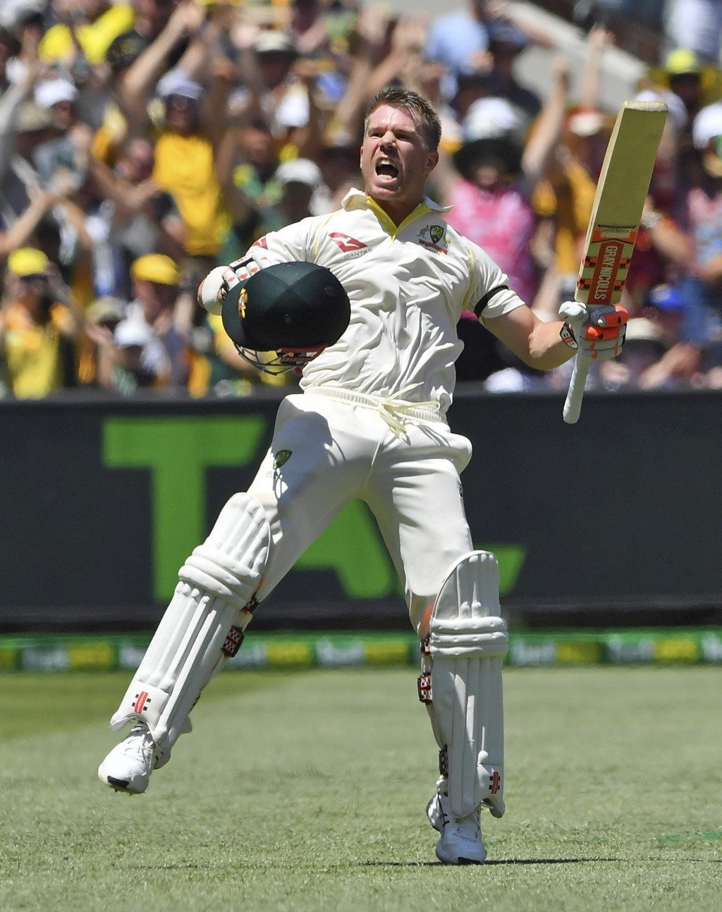 In this Dec. 26, 2017, file photo, Australia's David Warner celebrates scoring a century against England during their Ashes cricket test match in Melb...