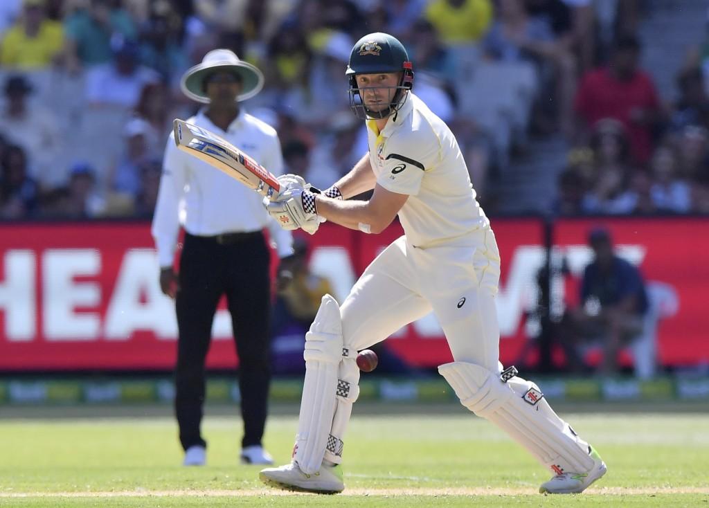 Australia's Shaun Marsh bats against England during their Ashes cricket test match in Melbourne, Australia, Tuesday, Dec. 26, 2017. (AP Photo/Andy Bro...
