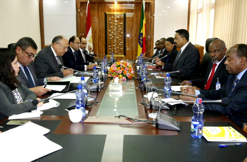 In this photo provided by Egypt's state news agency MENA, Egyptian Foreign Minister Sameh Shoukry, third left, meets with his counterpart Workneh Gebe...