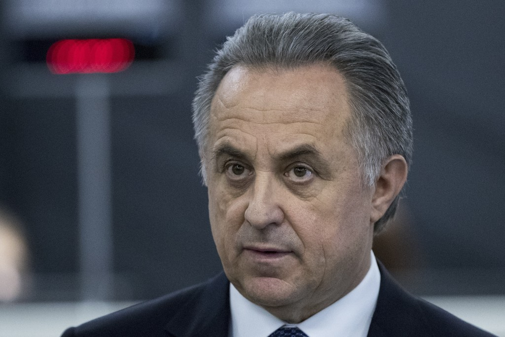 FILE In this file photo taken on Thursday, Dec. 7, 2017, Vitaly Mutko, Russian Federation Deputy Prime Minister & Russia 2018 WCup Local Organising Co...