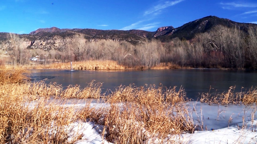 A pond in New Harmony, Utah, is shown on Tuesday, Dec. 26, 2017, after an 8-year-old boy fell into it and was rescued on Monday. Authorities have not ...