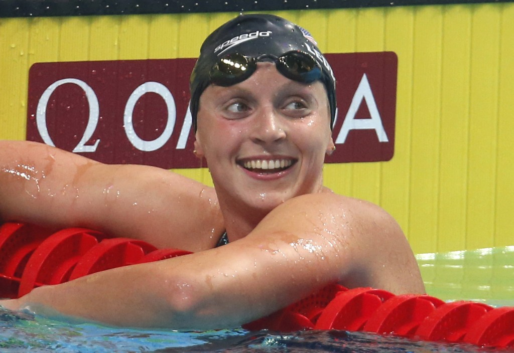 FILE - In this July 25, 2017, file photo, United States' Katie Ledecky reacts after winning the gold medal in the women's 1500-meter freestyle final d...