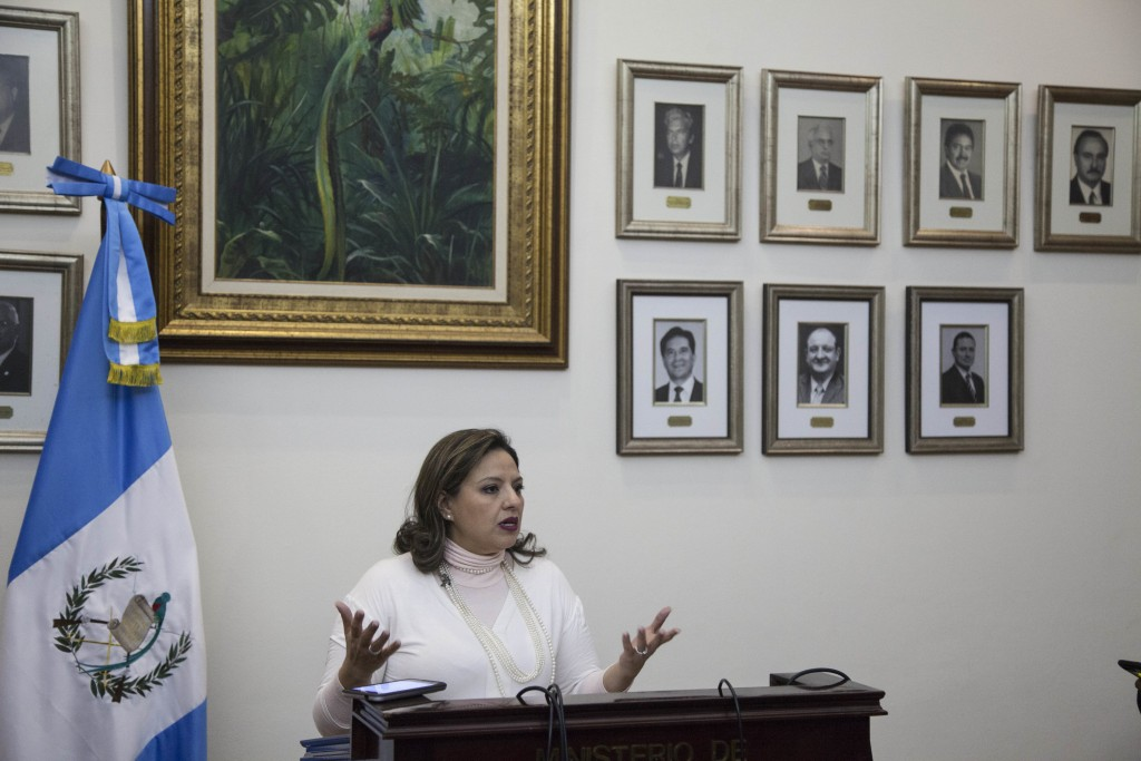 Guatemala's Foreign Minister Sandra Jovel answers questions during a news conference in Guatemala City, Tuesday, Dec. 26, 2017. Guatemala's president ...