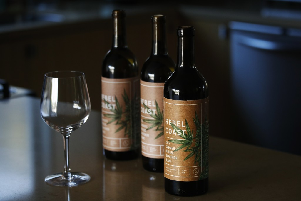 In this Dec. 22, 2017, photo, three bottles of Rebel Coast Winery's cannabis-infused wine sits in Los Angeles. As the world's largest legal recreation...