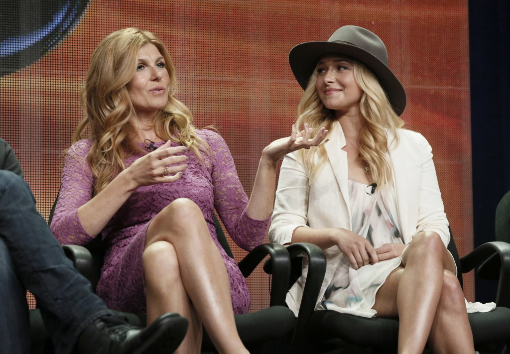 "FILE - In this July 27, 2012, file photo, Connie Britton, left, and Hayden Panettiere attend the ""Nashville"" panel at the Disney ABC TCA Day 2 at the ..."