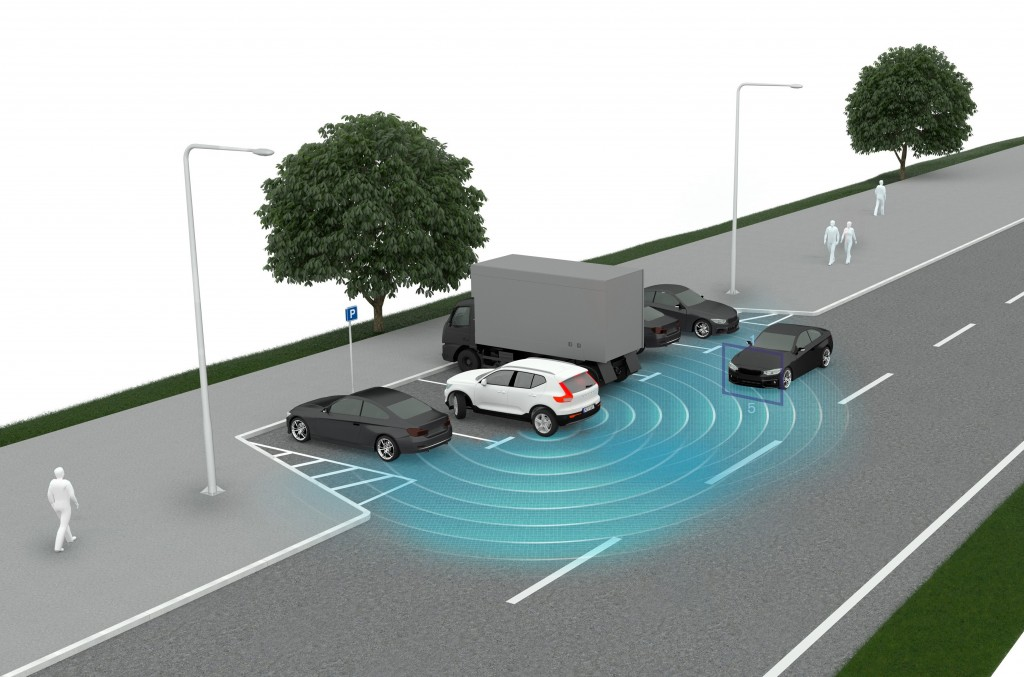 This graphic provided by Volvo shows how a rear cross-traffic system spots oncoming vehicles. New cars can come laden with safety technology, some tha...