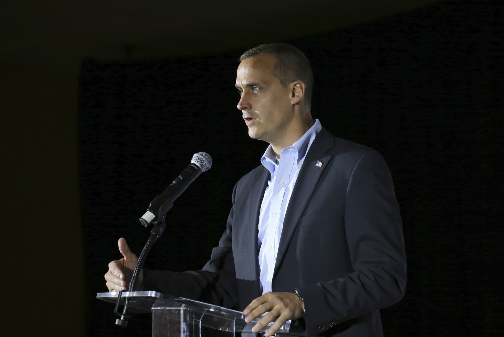 FILE- In this Nov. 9, 2017, file photo, Corey Lewandowski, the former campaign manager for President Donald Trump, speaks during an event in Mancheste...