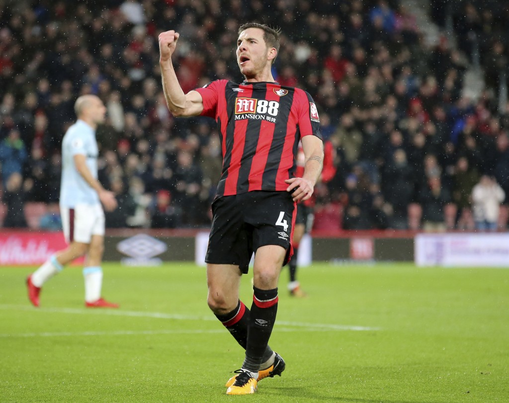 AFC Bournemouth's Dan Gosling celebrates scoring his side's first goal of the game during their English Premier League soccer match against West Ham U...