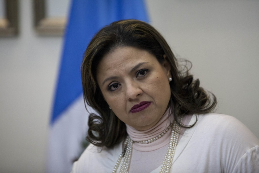 Guatemala's Foreign Minister Sandra Jovel listens questions during a news conference in Guatemala City, Tuesday, Dec. 26, 2017. Guatemala's president ...