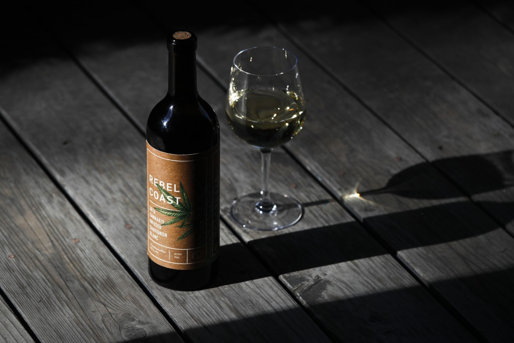 This Friday, Dec. 22, 2017, photo shows a bottle of Rebel Coast Winery's cannabis-infused wine in Los Angeles. As the world's largest legal recreation...