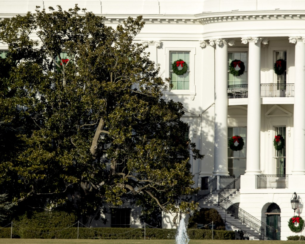 A large portion of a famed Magnolia tree, at left, photographed from the Ellipse in Washington, Tuesday, Dec. 26, 2017 and planted on the south ground...