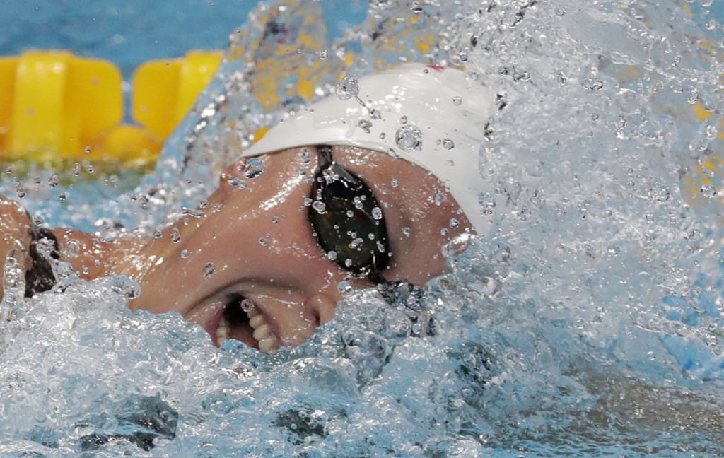 FILE - In this July 28, 2017, file photo, United States' Katie Ledecky competes in a women's 800-meter freestyle heat during the swimming competitions...