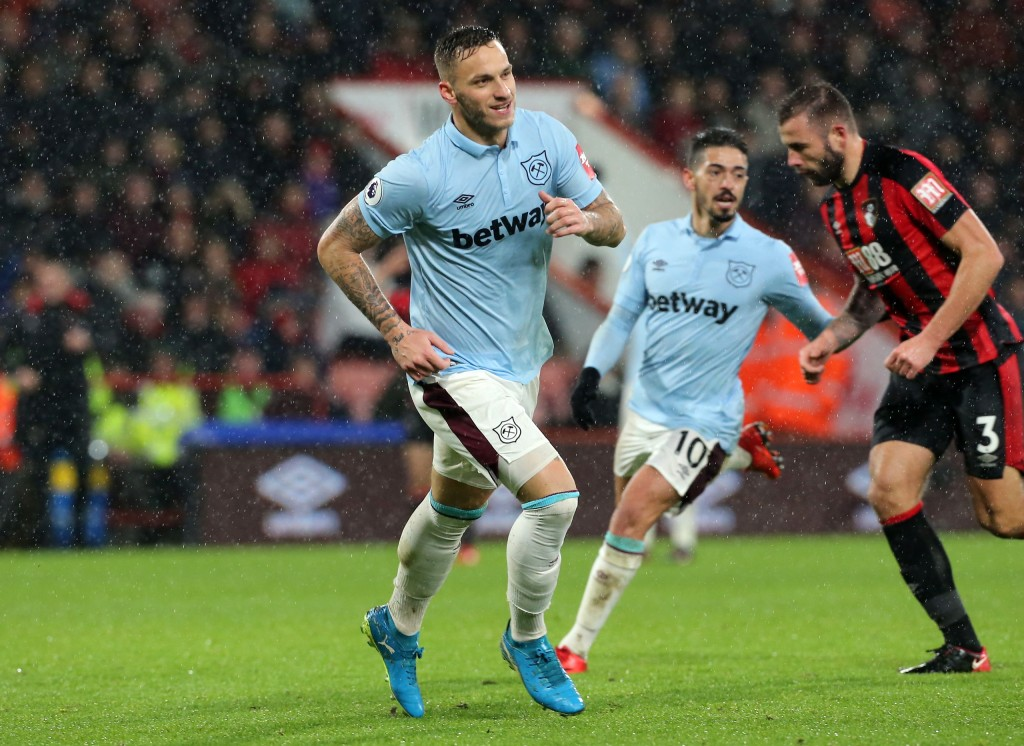 West Ham United's Marko Arnautovic celebrates scoring his side's second goal of the game during their English Premier League soccer match against AFC ...
