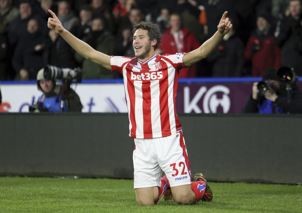 Stoke City's Ramadan Sobhi celebrates scoring his side's first goal of the game during their English Premier League soccer match against Huddersfield ...
