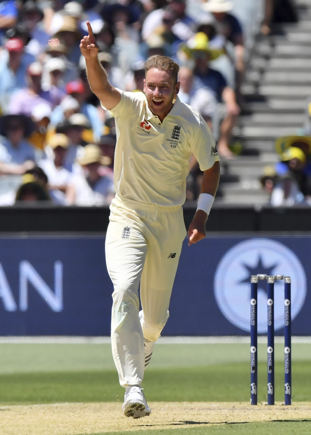 England's Stuart Broad celebrates taking the wicket of Australia's Shaun Marsh LBW for 61 runs during the second day of their Ashes cricket test match...