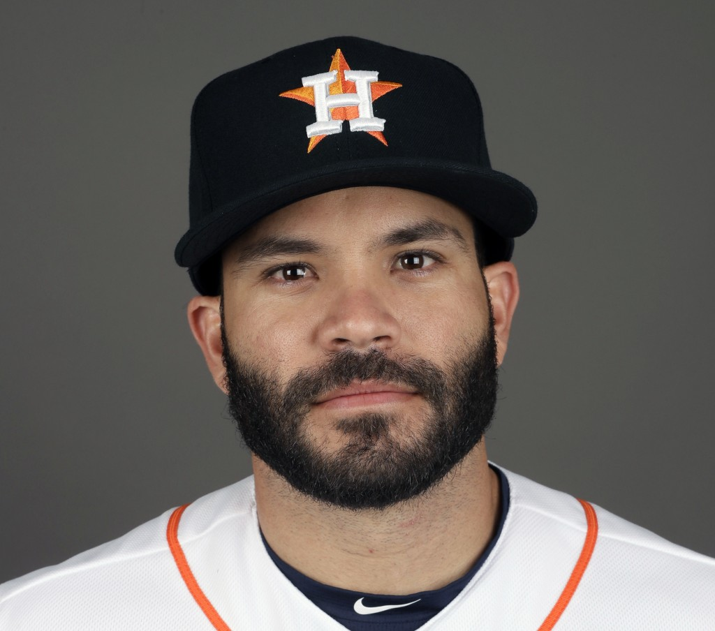 FILE - This 2017 file photo shows Jose Altuve of the Houston Astros baseball team. Altuve was named The Associated Press Male Athlete of the Year on W...