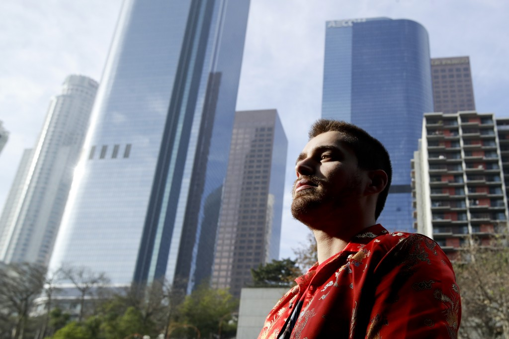 In this Tuesday, Dec. 26, 2017 photo, Elias Zaldivar, who has a medical marijuana prescription poses for a picture in Los Angeles. In the two decades ...