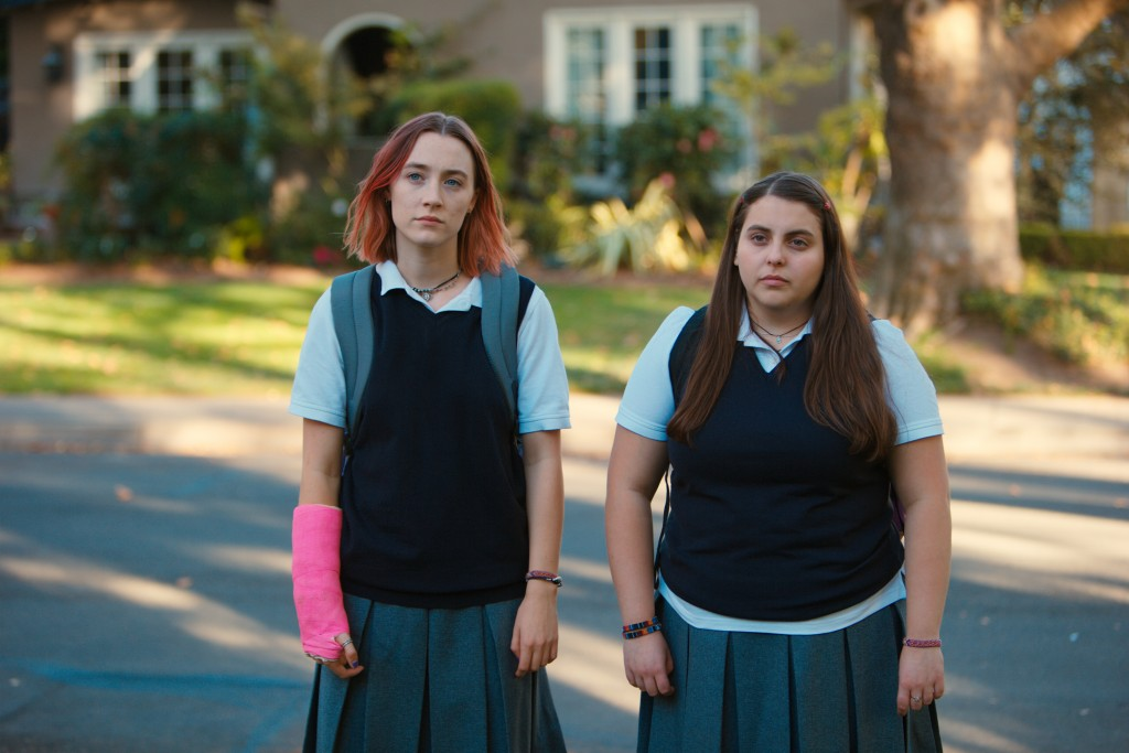 "FILE - This file image released by A24 Films shows Saoirse Ronan, left, and Beanie Feldstein in a scene from ""Lady Bird."" Ronan says she hopes that he..."