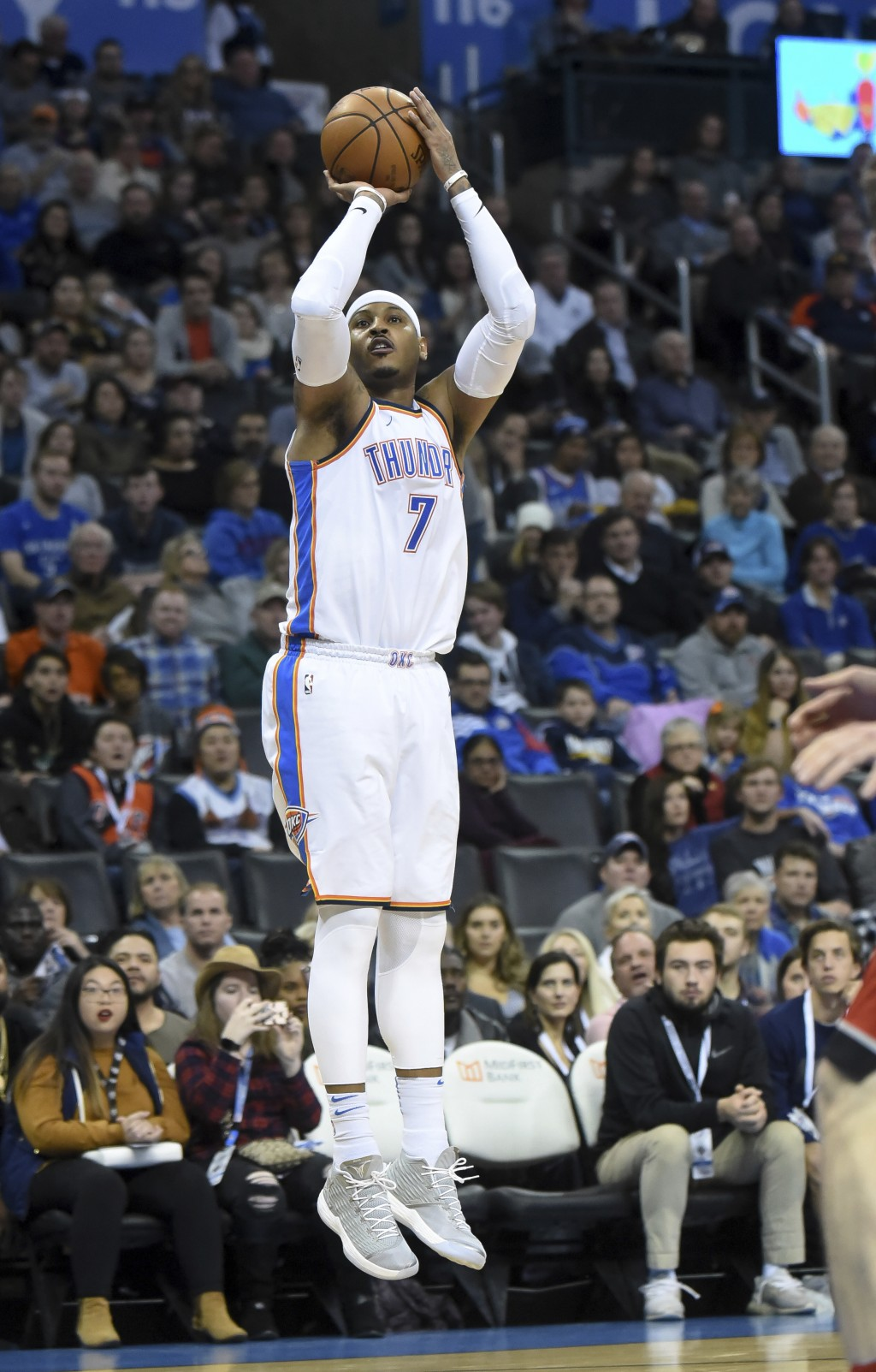 Oklahoma City Thunder's Carmelo Anthony shoots against the Toronto Raptors during the second half of an NBA basketball game in Oklahoma City, Wednesda...