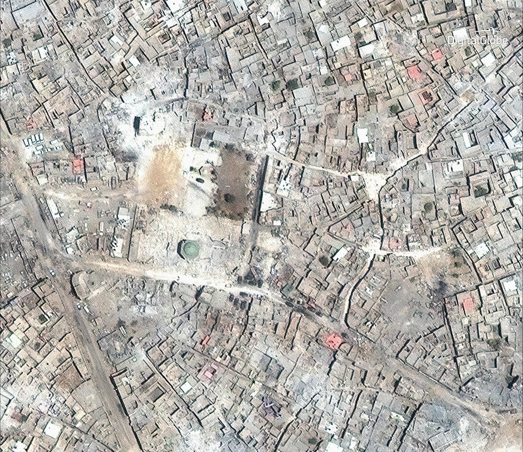 This satellite image released by DigitalGlobe shows what remains of the al-Nuri Mosque in Mosul, Iraq on July 8, 2017. Three years of war devastated m...