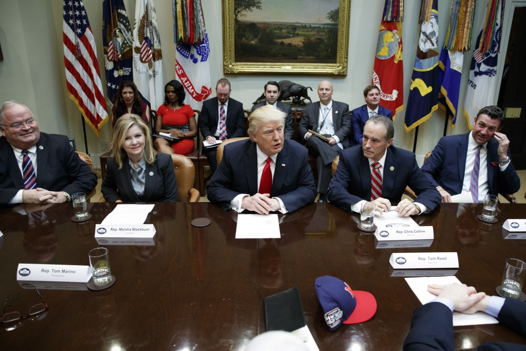 FILE - In this Feb. 16, 2017, file photo, President Donald Trump speaks during a meeting with House Republicans in the Roosevelt Room of the White Hou...