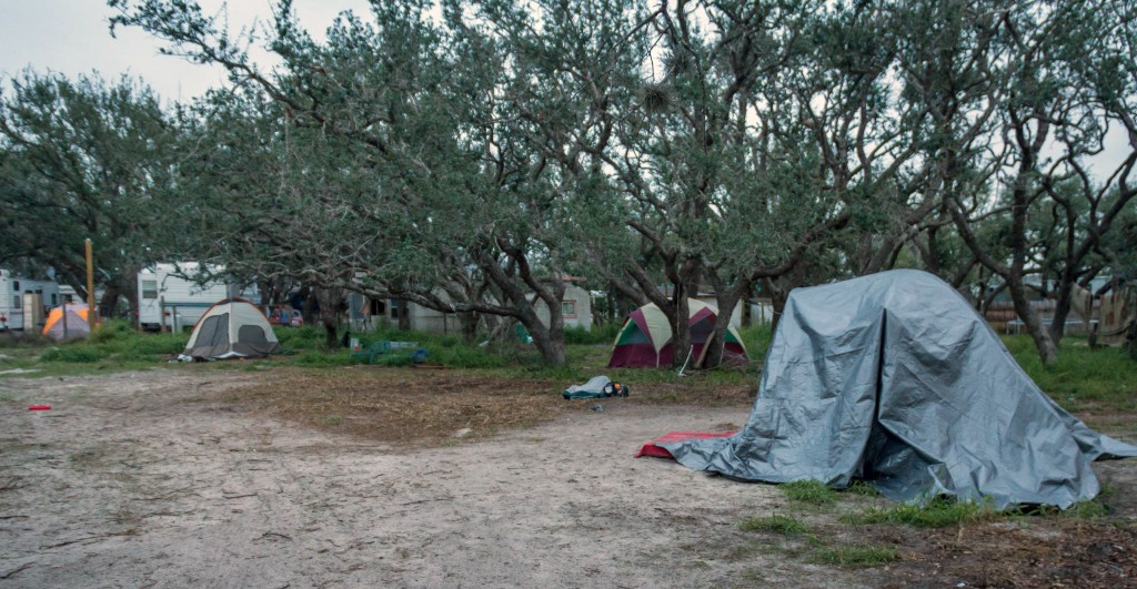 In this Dec. 15, 2017 photo provided by Kim Porter, people live in tents in Rockport, Texas. The federal government typically spends up to $150,000 ap...