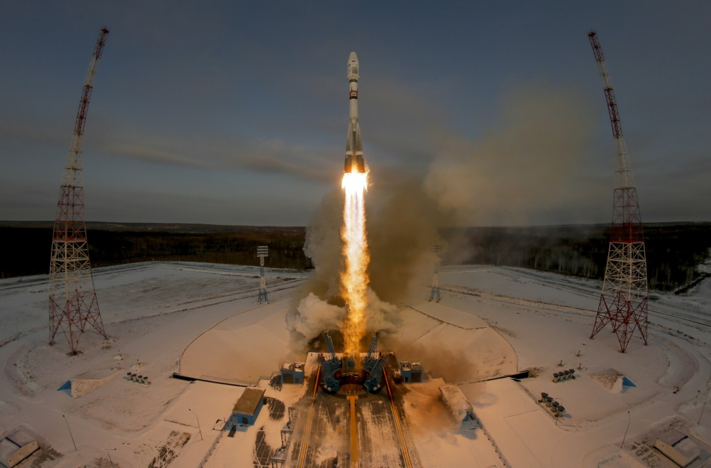 FILE - In this Tuesday, Nov. 28, 2017 file photo, a Russian Soyuz 2.1b rocket carrying the Meteor M satellite and additional 18 small satellites lifts...
