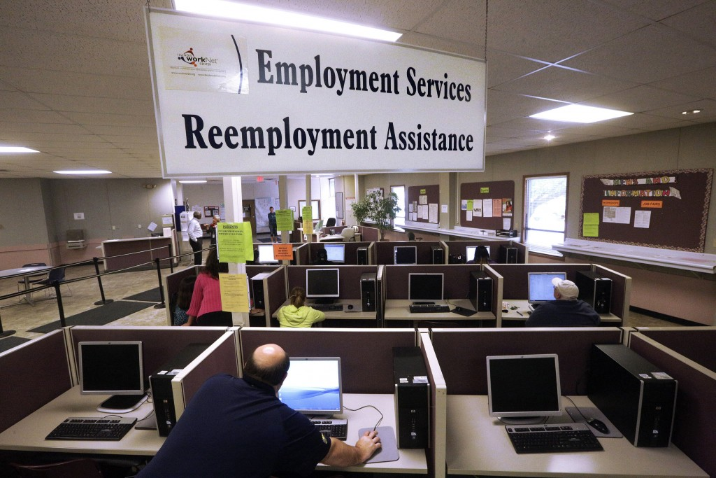FILE - This Thursday, Sept. 29, 2016, file photo, shows the Illinois Department of Employment Security office in Springfield, Ill. On Thursday, Dec. 2...