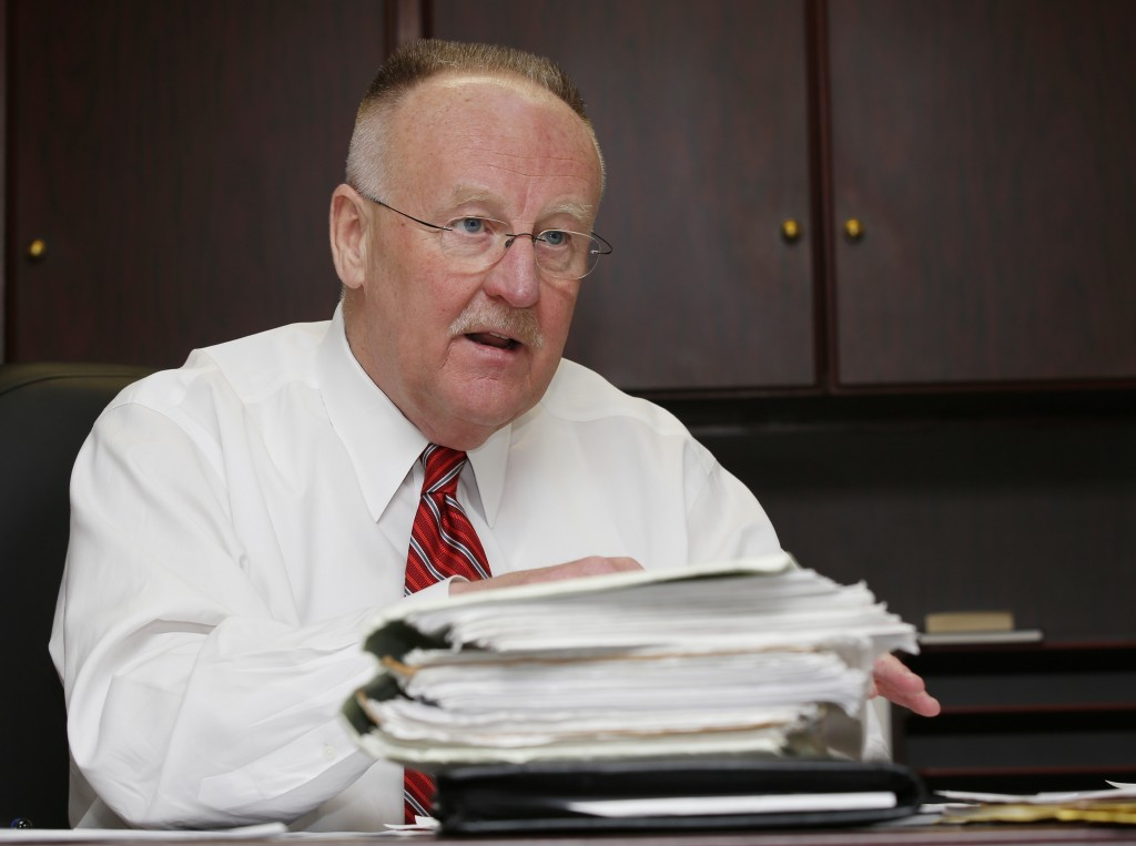 FILE - In this Feb. 10, 2016, file photo, Joe Allbaugh, Director of the Oklahoma Department of Corrections, speaks during an interview in his office i...