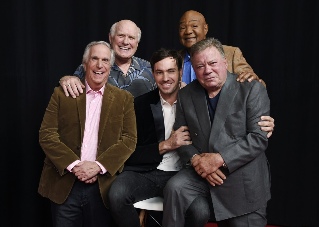 In this Wednesday, Nov. 29, 2017, photo, from left, Henry Winkler, Terry Bradshaw, Jeff Dye, George Foreman and William Shatner, cast members in the N...